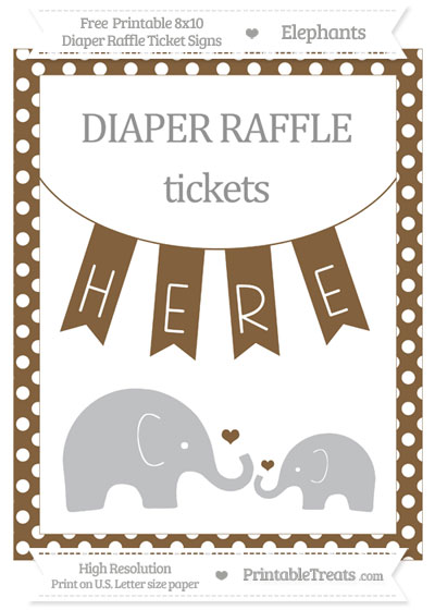 Free Coyote Brown Polka Dot Elephant 8x10 Diaper Raffle Ticket Sign