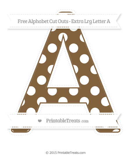 Free Coyote Brown Polka Dot Extra Large Capital Letter A Cut Outs