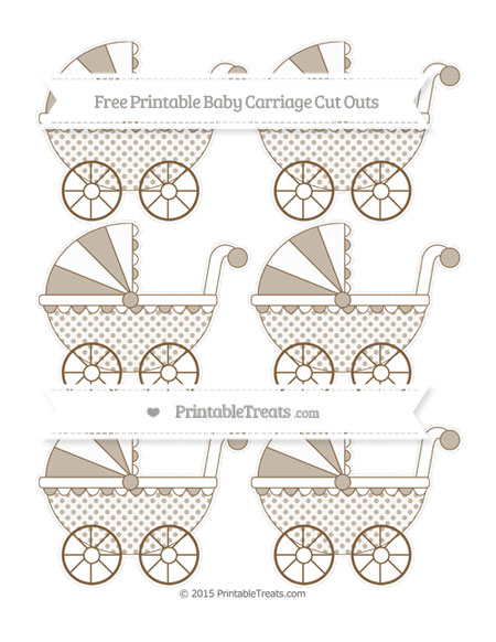 Free Coyote Brown Polka Dot Small Baby Carriage Cut Outs