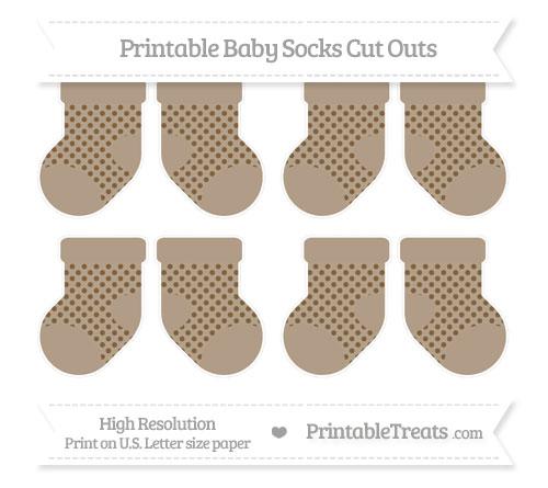 Free Coyote Brown Polka Dot Small Baby Socks Cut Outs