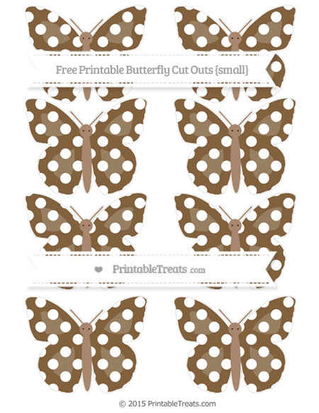 Free Coyote Brown Polka Dot Small Butterfly Cut Outs