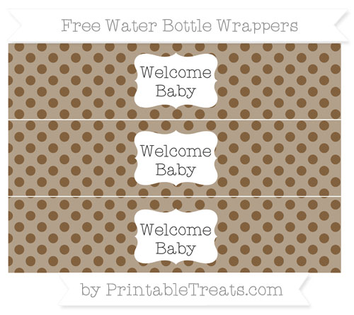 Free Coyote Brown Polka Dot Welcome Baby Water Bottle Wrappers