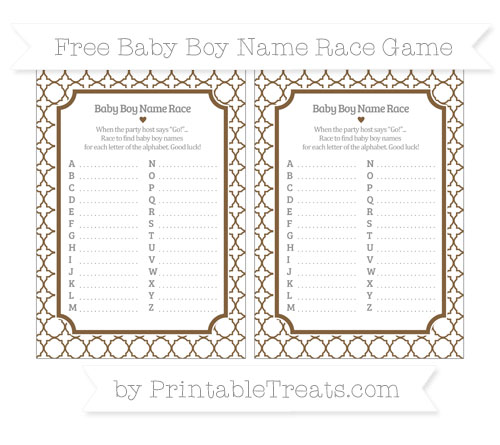 Free Coyote Brown Quatrefoil Pattern Baby Boy Name Race Game