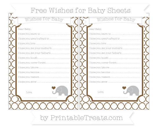 Free Coyote Brown Quatrefoil Pattern Baby Elephant Wishes for Baby Sheets
