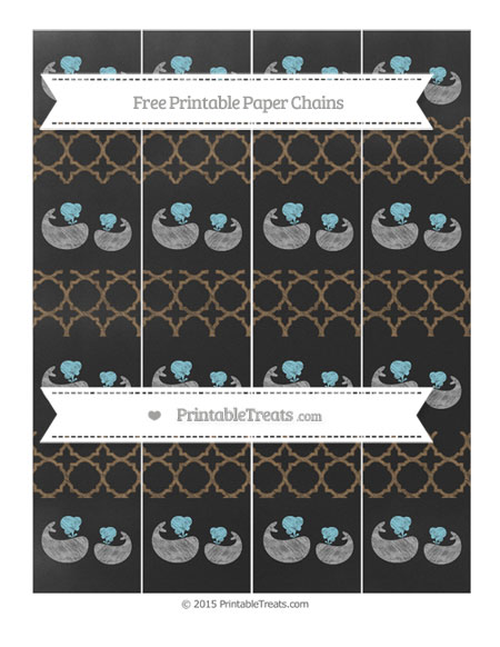 Free Coyote Brown Quatrefoil Pattern Chalk Style Baby Whale Paper Chains