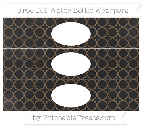 Free Coyote Brown Quatrefoil Pattern Chalk Style DIY Water Bottle Wrappers
