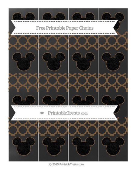 Free Coyote Brown Quatrefoil Pattern Chalk Style Mickey Mouse Paper Chains