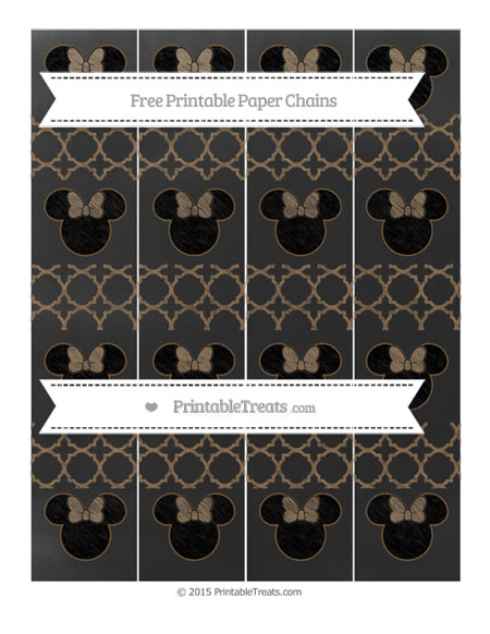 Free Coyote Brown Quatrefoil Pattern Chalk Style Minnie Mouse Paper Chains