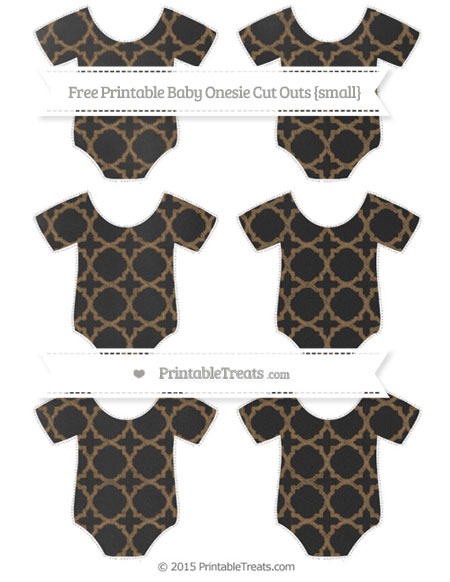 Free Coyote Brown Quatrefoil Pattern Chalk Style Small Baby Onesie Cut Outs