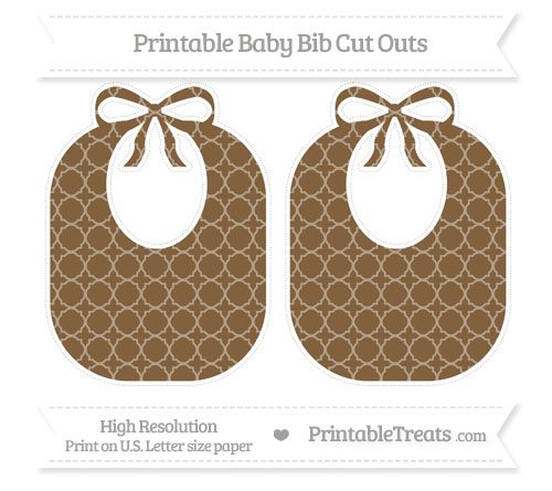 Free Coyote Brown Quatrefoil Pattern Large Baby Bib Cut Outs