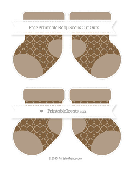 Free Coyote Brown Quatrefoil Pattern Medium Baby Socks Cut Outs