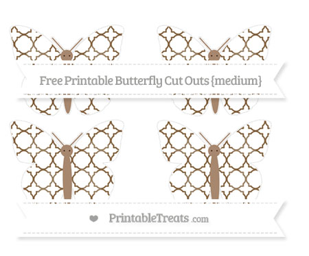 Free Coyote Brown Quatrefoil Pattern Medium Butterfly Cut Outs