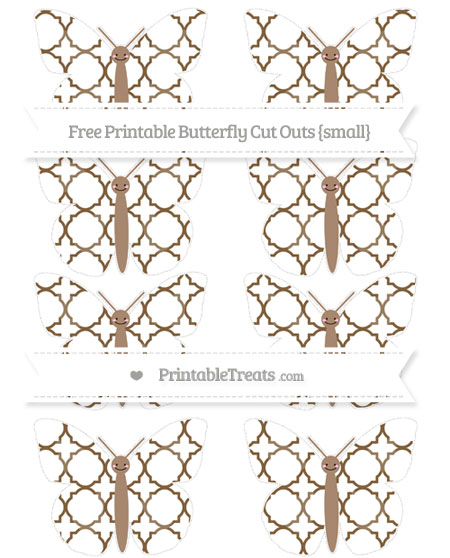 Free Coyote Brown Quatrefoil Pattern Small Smiley Butterfly Cut Outs