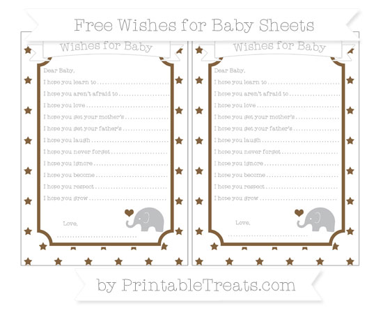Free Coyote Brown Star Pattern Baby Elephant Wishes for Baby Sheets
