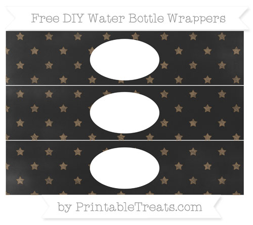 Free Coyote Brown Star Pattern Chalk Style DIY Water Bottle Wrappers