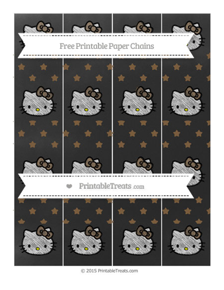Free Coyote Brown Star Pattern Chalk Style Hello Kitty Paper Chains