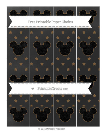Free Coyote Brown Star Pattern Chalk Style Mickey Mouse Paper Chains