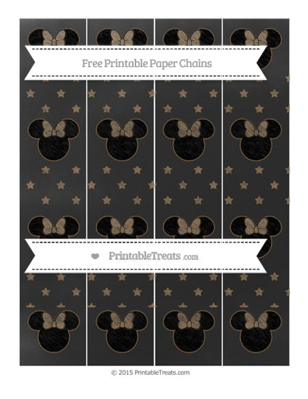 Free Coyote Brown Star Pattern Chalk Style Minnie Mouse Paper Chains