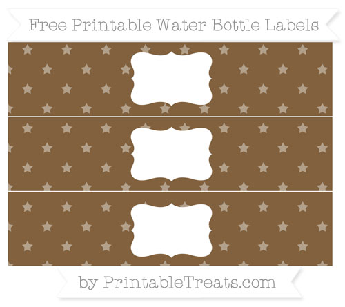 Free Coyote Brown Star Pattern Water Bottle Labels
