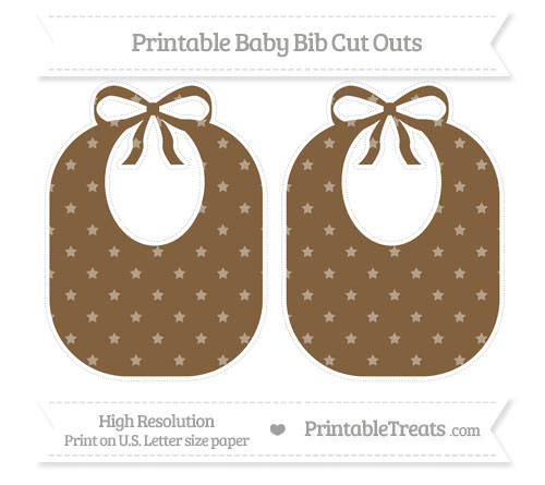 Free Coyote Brown Star Pattern Large Baby Bib Cut Outs
