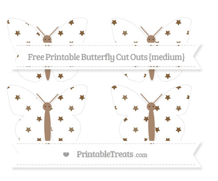 Free Coyote Brown Star Pattern Medium Butterfly Cut Outs
