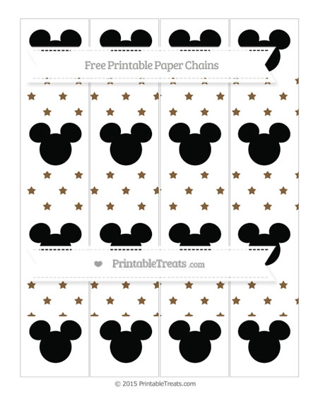 Free Coyote Brown Star Pattern Mickey Mouse Paper Chains