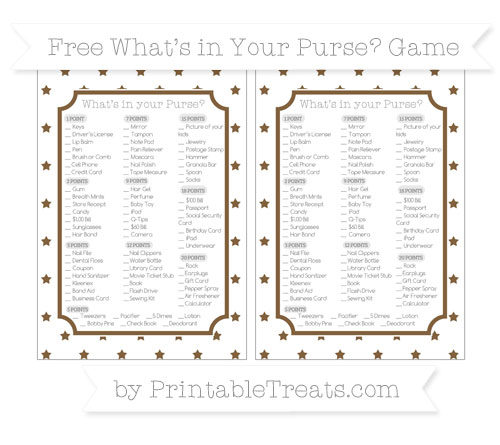 Free Coyote Brown Star Pattern What's in Your Purse Baby Shower Game