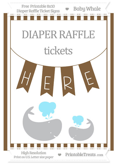 Free Coyote Brown Striped Baby Whale 8x10 Diaper Raffle Ticket Sign