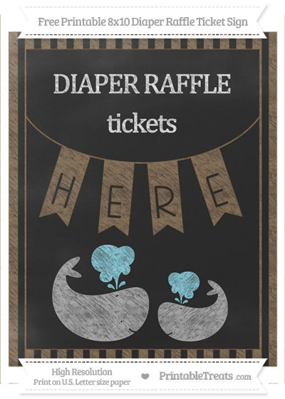 Free Coyote Brown Striped Chalk Style Baby Whale 8x10 Diaper Raffle Ticket Sign