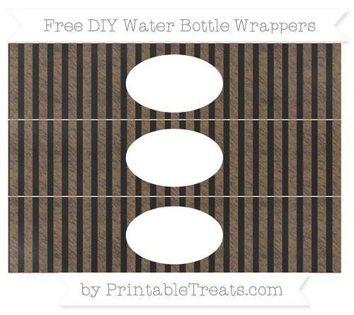Free Coyote Brown Striped Chalk Style DIY Water Bottle Wrappers