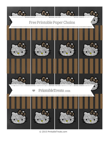 Free Coyote Brown Striped Chalk Style Hello Kitty Paper Chains