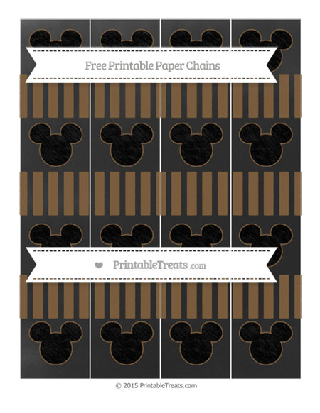 Free Coyote Brown Striped Chalk Style Mickey Mouse Paper Chains