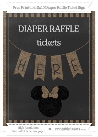 Free Coyote Brown Striped Chalk Style Minnie Mouse 8x10 Diaper Raffle Ticket Sign