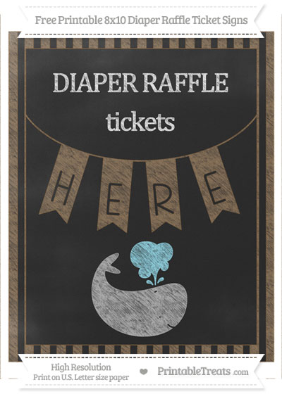 Free Coyote Brown Striped Chalk Style Whale 8x10 Diaper Raffle Ticket Sign