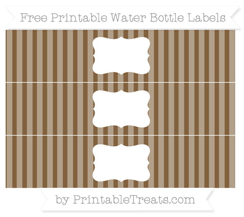 Free Coyote Brown Striped Water Bottle Labels