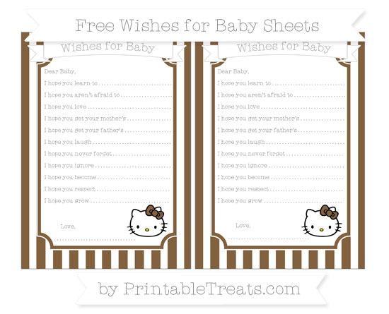 Free Coyote Brown Striped Hello Kitty Wishes for Baby Sheets