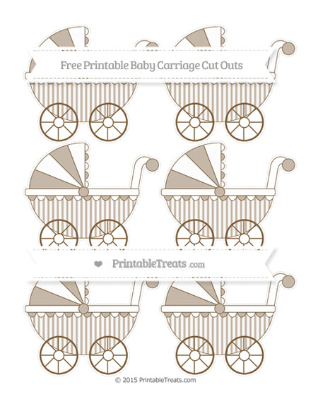 Free Coyote Brown Striped Small Baby Carriage Cut Outs