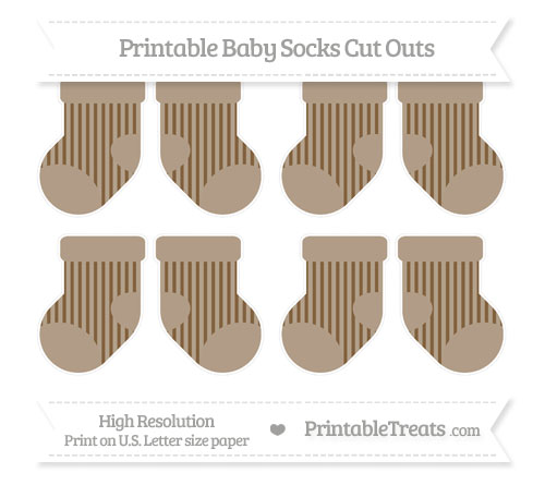 Free Coyote Brown Striped Small Baby Socks Cut Outs