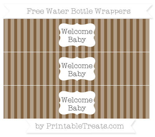 Free Coyote Brown Striped Welcome Baby Water Bottle Wrappers