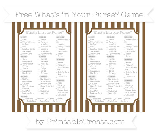 Free Coyote Brown Striped What's in Your Purse Baby Shower Game