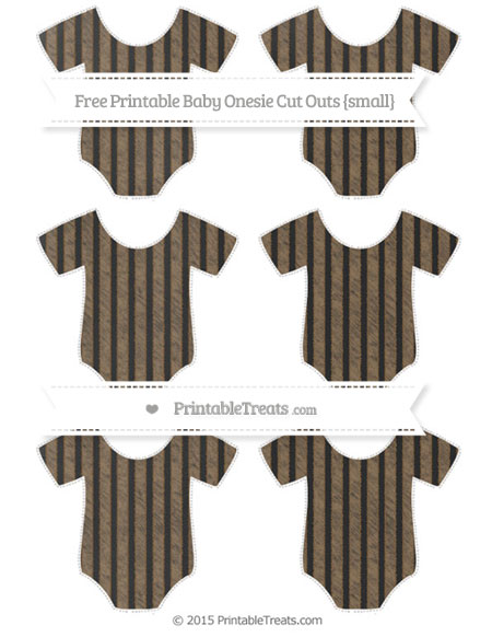 Free Coyote Brown Thin Striped Pattern Chalk Style Small Baby Onesie Cut Outs