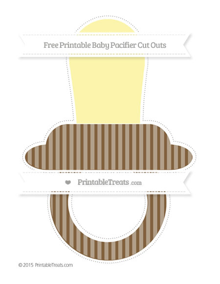 Free Coyote Brown Thin Striped Pattern Extra Large Baby Pacifier Cut Outs