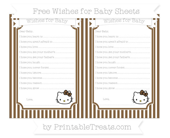 Free Coyote Brown Thin Striped Pattern Hello Kitty Wishes for Baby Sheets