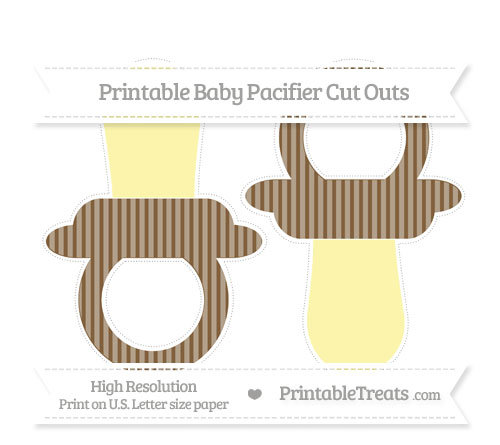 Free Coyote Brown Thin Striped Pattern Large Baby Pacifier Cut Outs