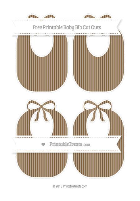 Free Coyote Brown Thin Striped Pattern Medium Baby Bib Cut Outs