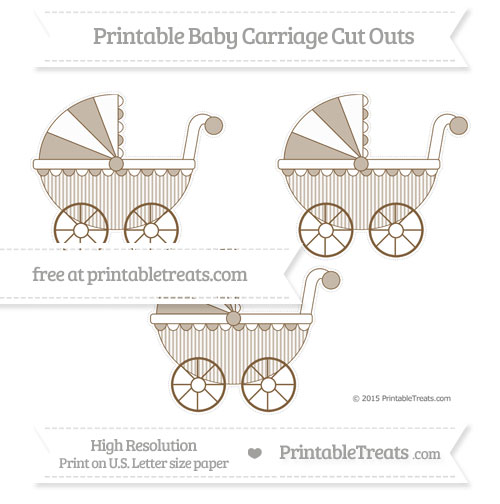 Free Coyote Brown Thin Striped Pattern Medium Baby Carriage Cut Outs
