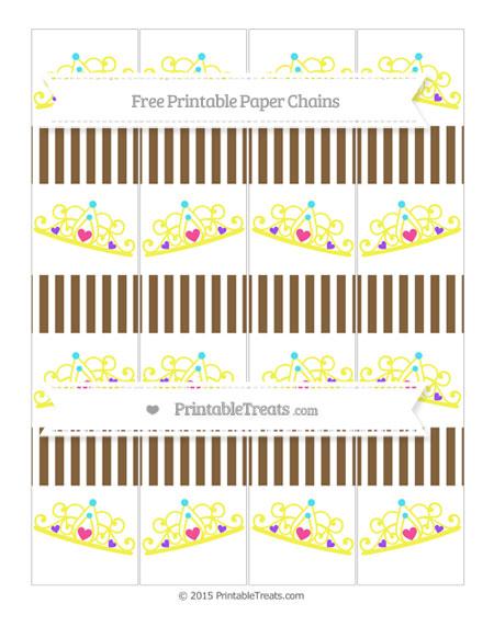 Free Coyote Brown Thin Striped Pattern Princess Tiara Paper Chains