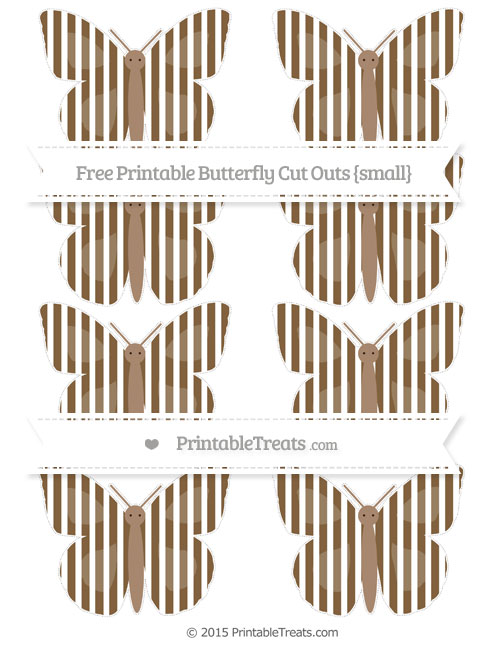Free Coyote Brown Thin Striped Pattern Small Butterfly Cut Outs