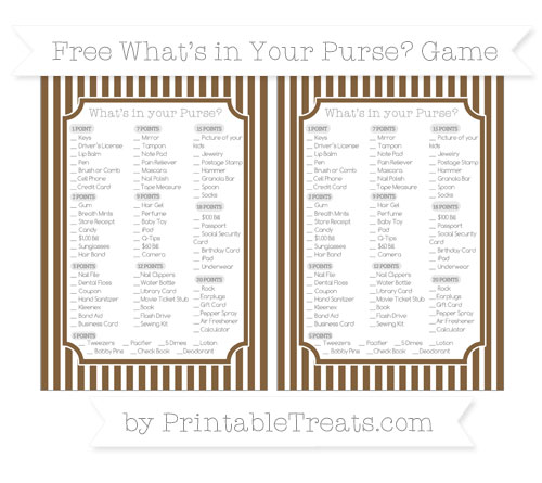 Free Coyote Brown Thin Striped Pattern What's in Your Purse Baby Shower Game