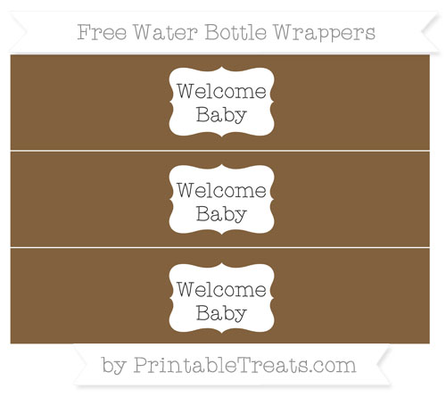 Free Coyote Brown Welcome Baby Water Bottle Wrappers